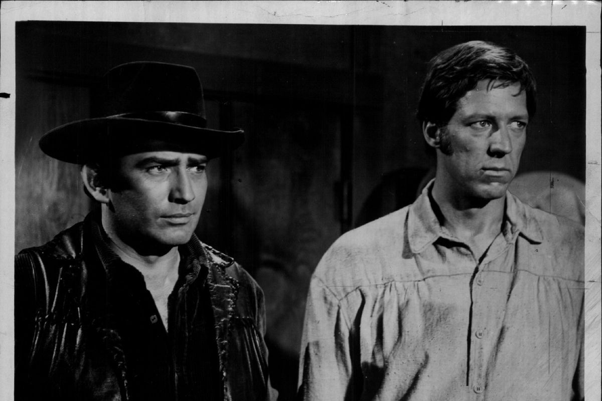 """James Drury (left) and David Hartman are shown in a scene from an episode of """"The Virginian."""""""