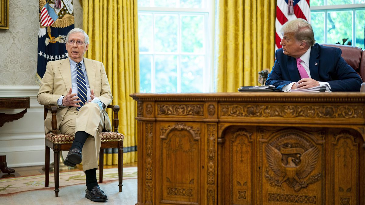 President Donald Trump, sitting at his desk at the oval office, meets With Mitch McConnell on stimulus payments