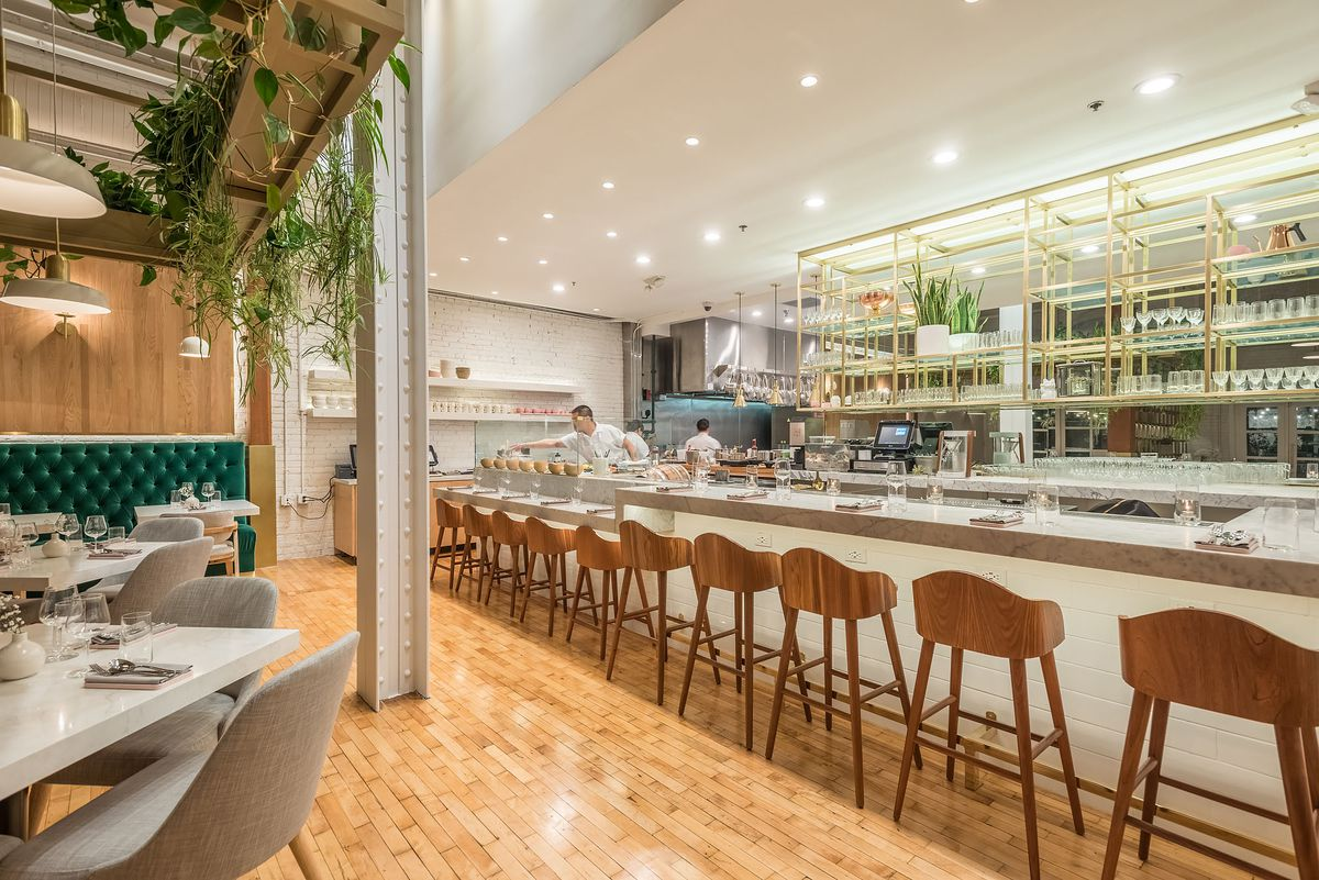 Counter seating and kitchen at Nightshade restaurant in Los Angeles.