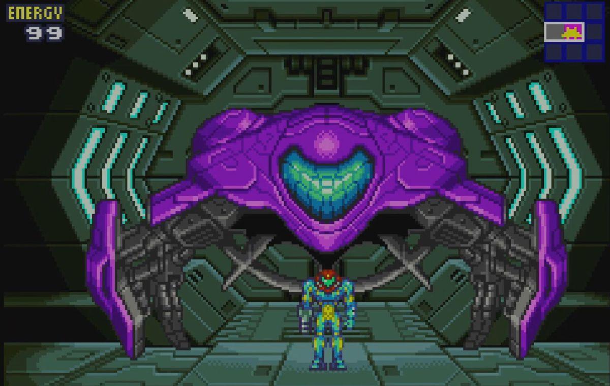 Samus Aran in front of her ship in Metroid Fusion