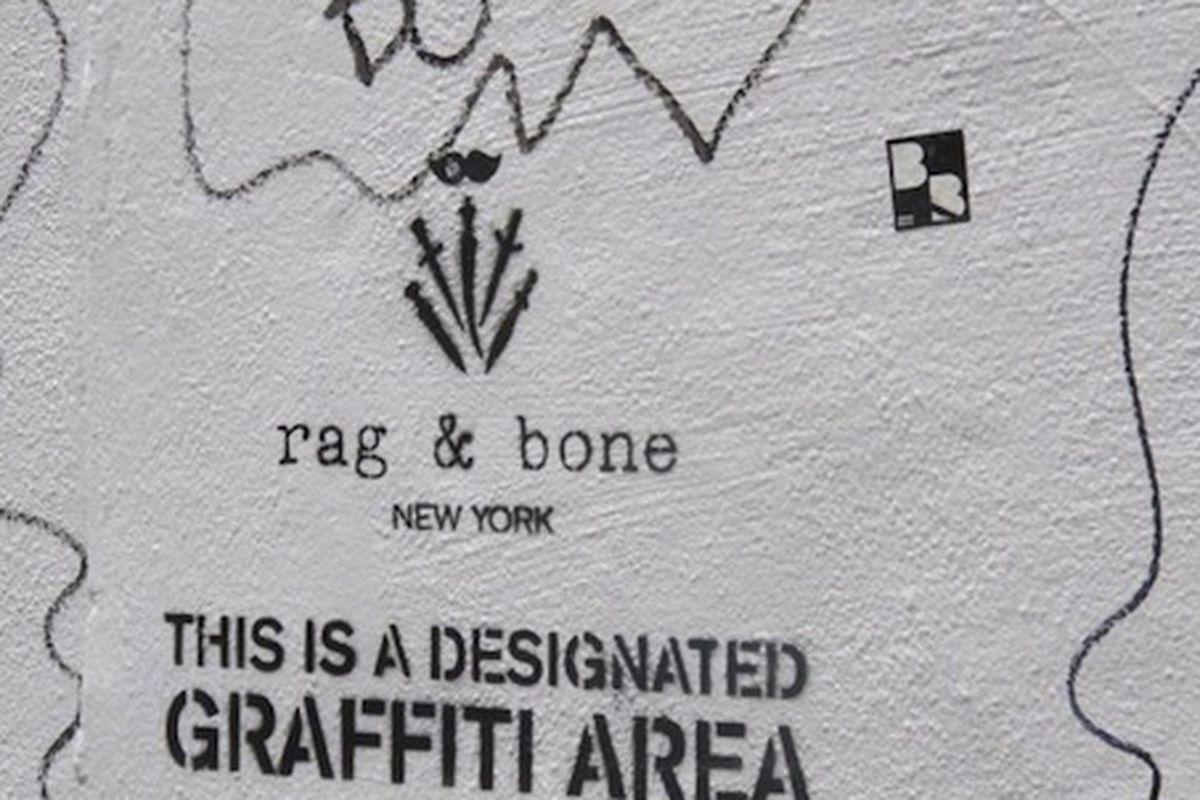 """Image via <a href=""""http://www.boweryboogie.com/2013/02/rag-bone-designates-graffiti-area-on-elizabeth-street-wall/"""">Bowery Boogie</a>"""