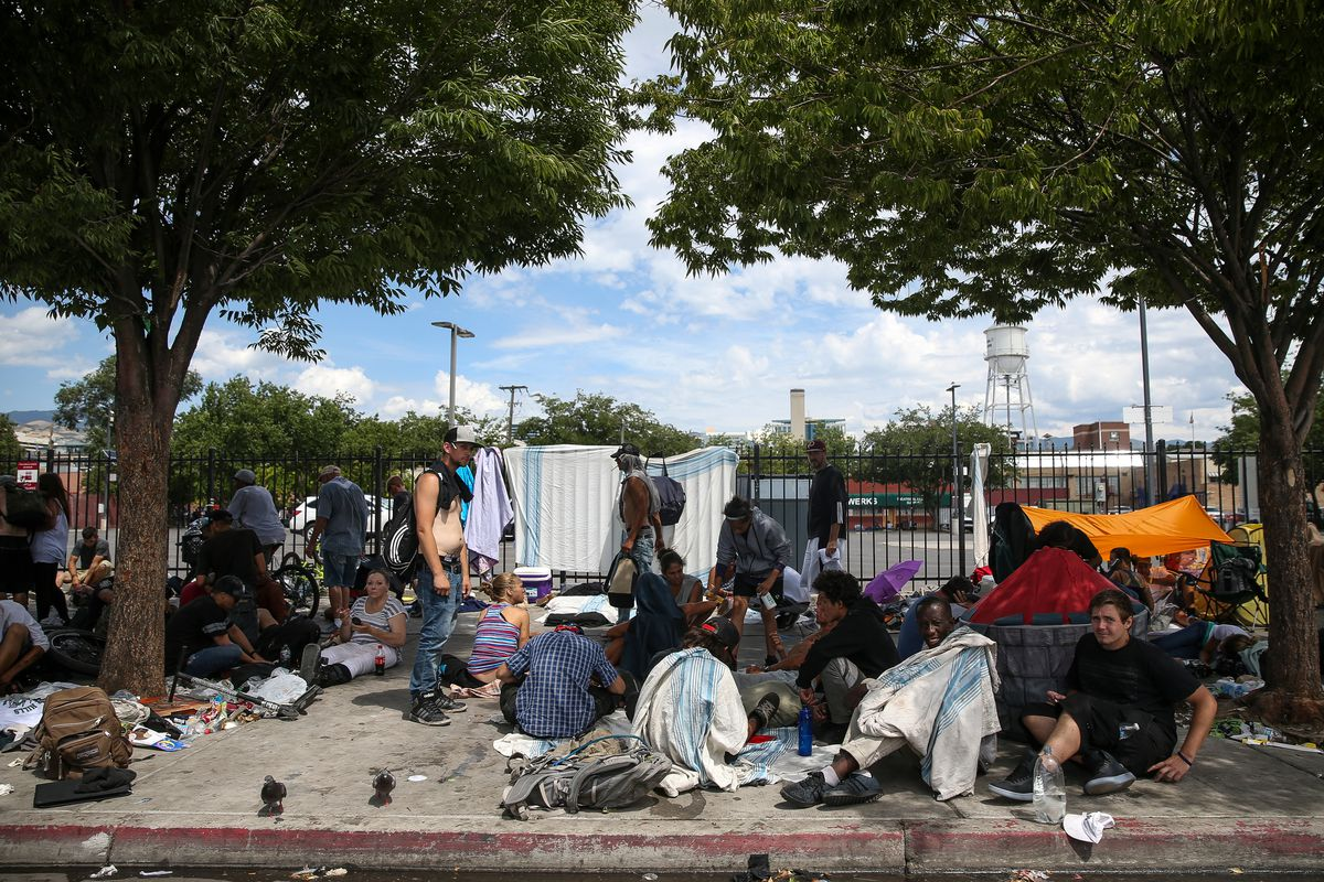 Homeless individuals camp on 500 West in the Rio Grande area of Salt Lake City on Friday, July 28, 2017.
