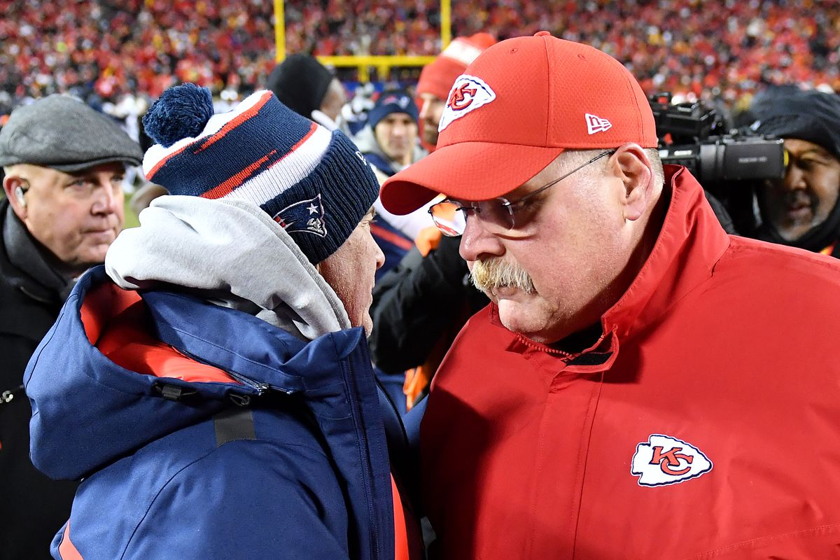 Head coach Bill Belichick of the New England Patriots shakes hands with head coach Andy Reid of the Kansas City Chiefs after the AFC Championship Game at Arrowhead Stadium on January 20, 2019 in Kansas City, Missouri.