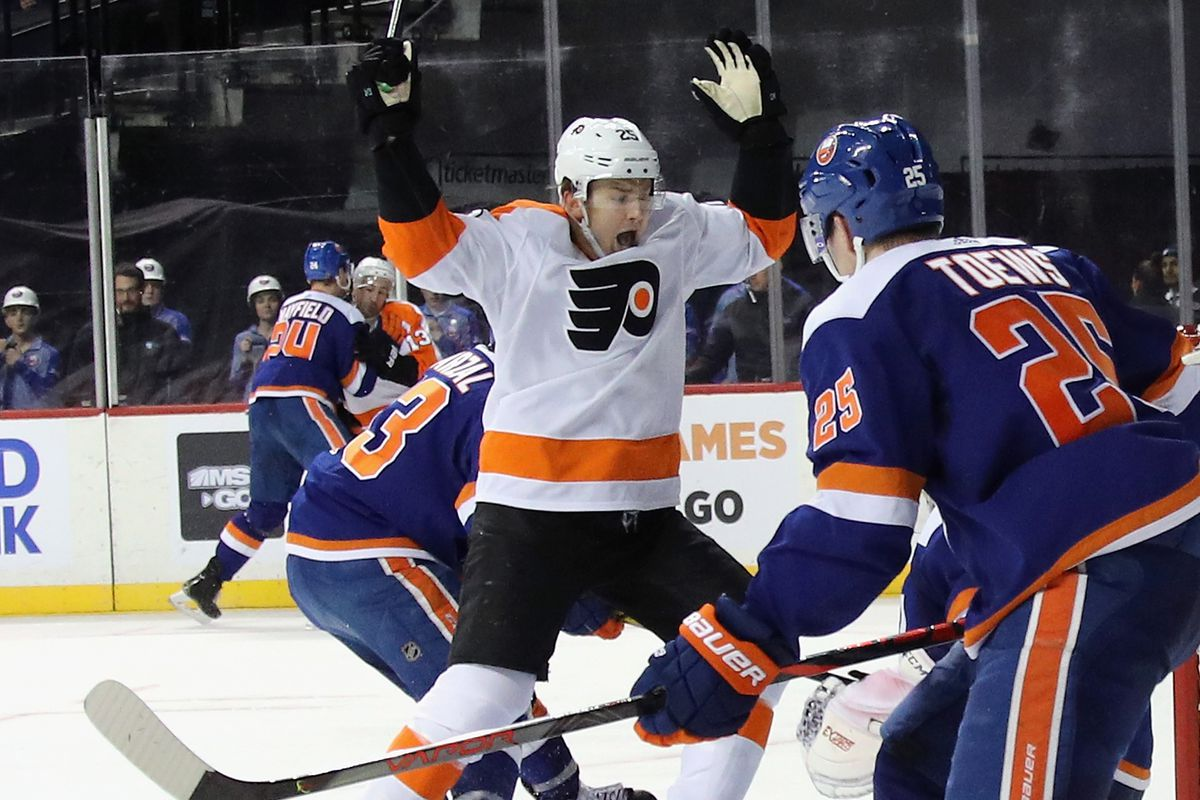 James van Riemsdyk of the Philadelphia Flyers skates against the New York Islanders at the Barclays Center on February 11, 2020 in the Brooklyn borough of New York City.