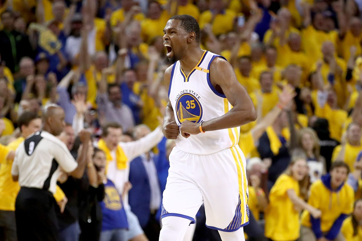Kevin Durant left his car to celebrate with fans outside Oracle Arena