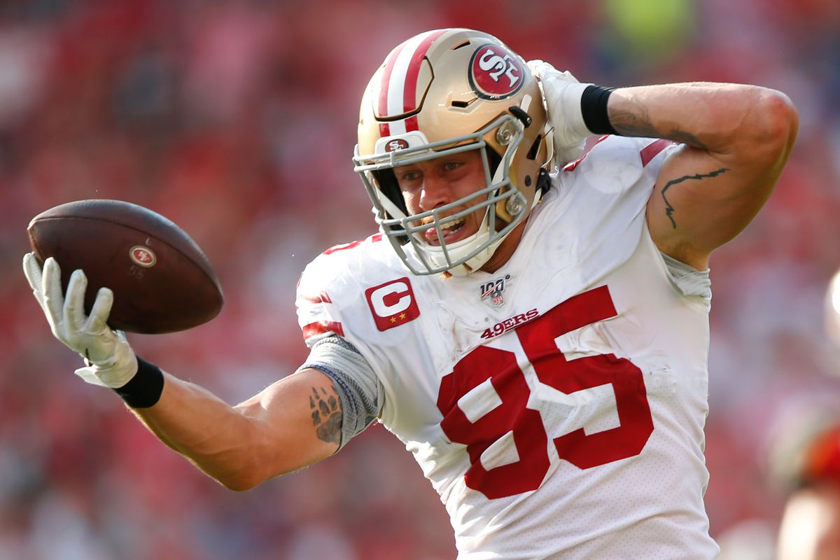 George Kittle of the San Francisco 49ers runs heads to the end zone for a touchdown, but has it called back on a penalty, during the game against the Tampa Bay Buccaneers at Raymond James Stadium on September 8, 2019 in Tampa, Florida.