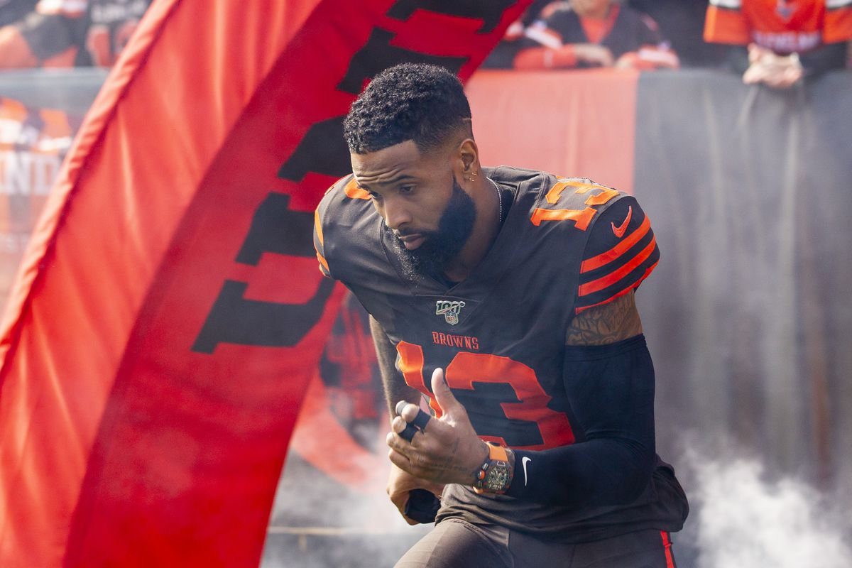 Cleveland Browns wide receiver Odell Beckham runs onto the field before the start of the game against the Seattle Seahawks at FirstEnergy Stadium.