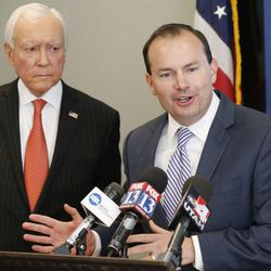 Senator Orrin Hatch and Senator Mike Lee, along with Congressman Rob Bishop and Congressman Chris Stewart  hold a press conference  regarding the 4th Congressional District race between Mia Love and Doug Owens in Salt Lake City  Wednesday, Oct. 22, 2014.