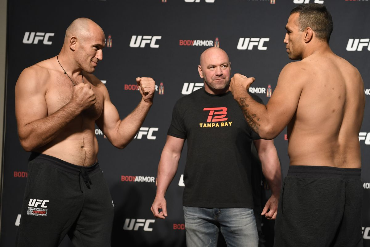 Opponents Aleksei Oleinik of Russia and Fabricio Werdum face off during the UFC 249 official weigh-in on May 08, 2020 in Jacksonville, Florida.