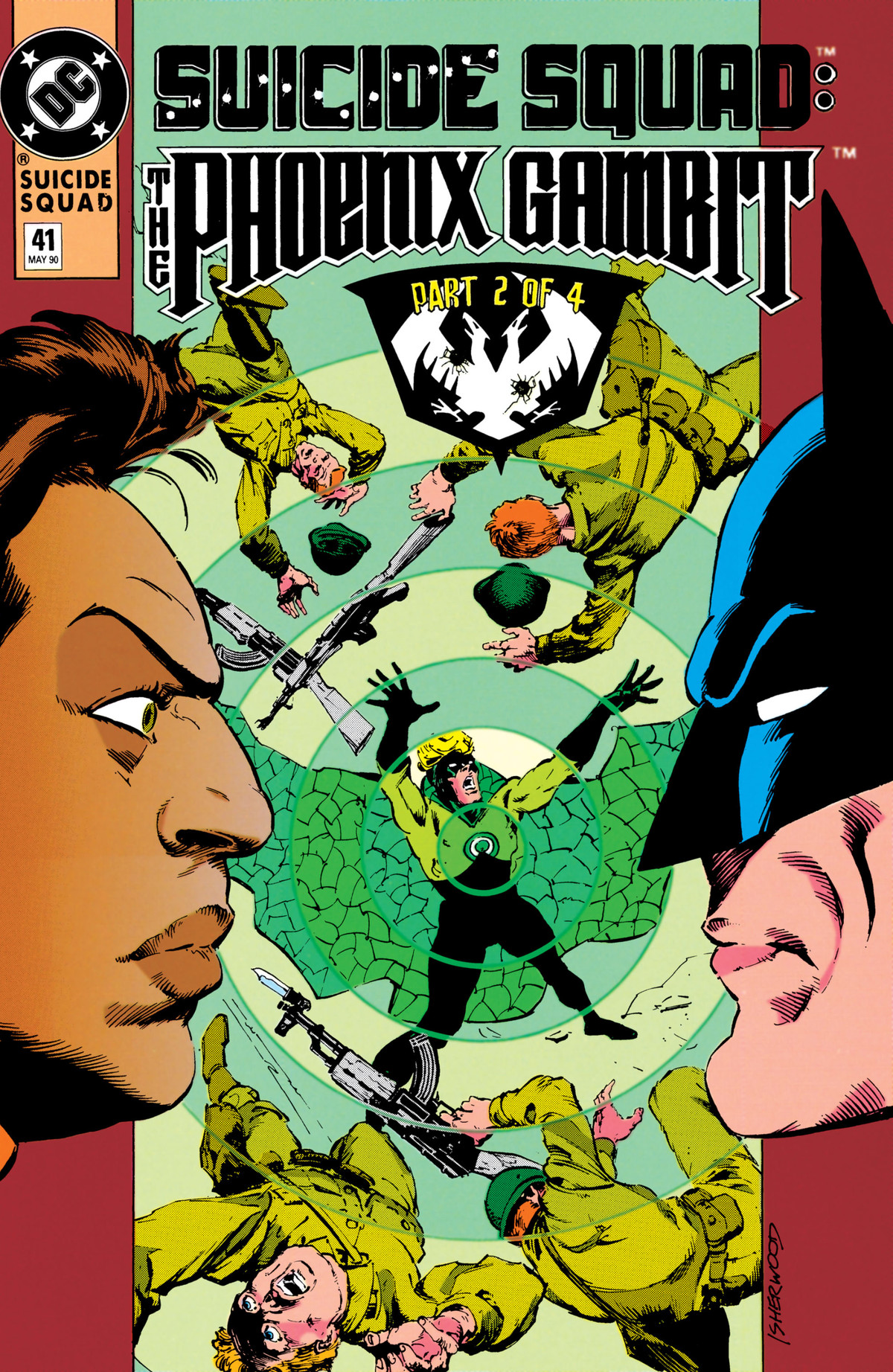 Batman and Amanda Waller stare each other down as Count Vertigo takes down soldiers on the cover of Suicide Squad #41, DC Comics (1990).