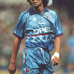 Paolo Maldini in the third kit for 1995/96.