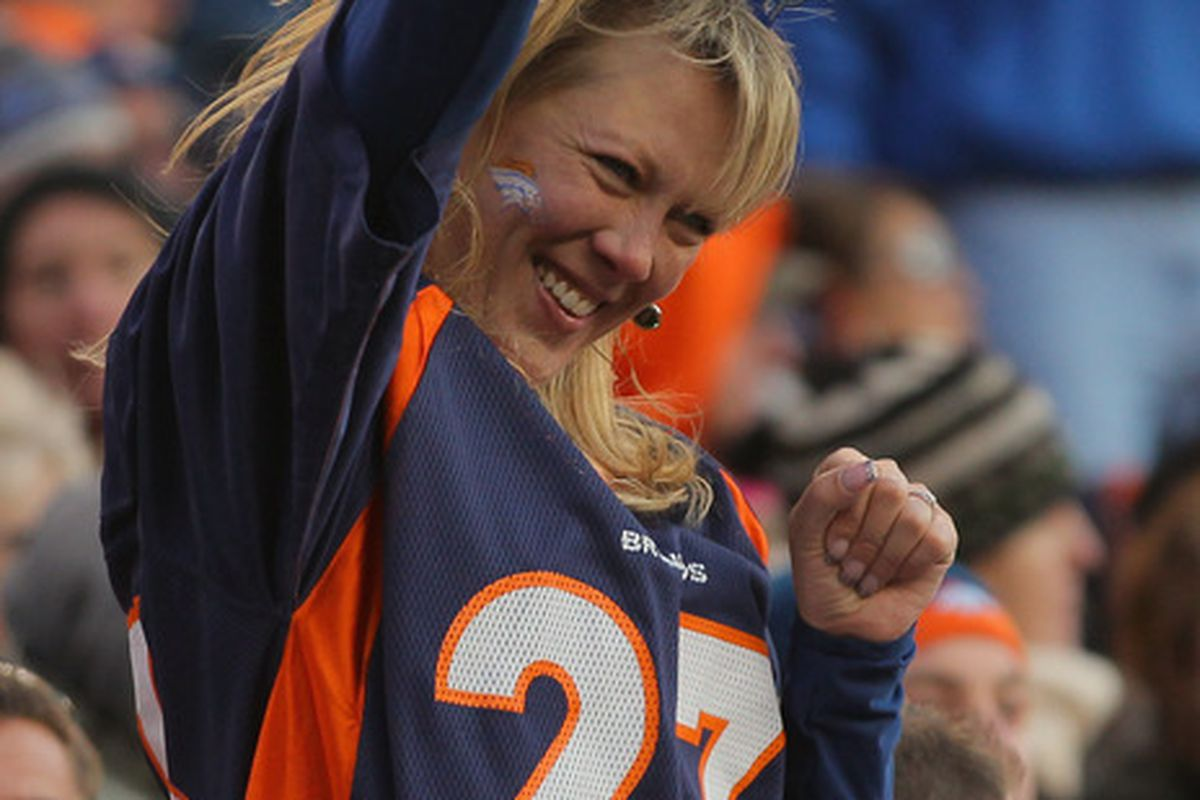 A fan of the Denver Broncos celebrates a Happy New Year and a playoff berth for the Broncos. (Photo by Doug Pensinger/Getty Images)