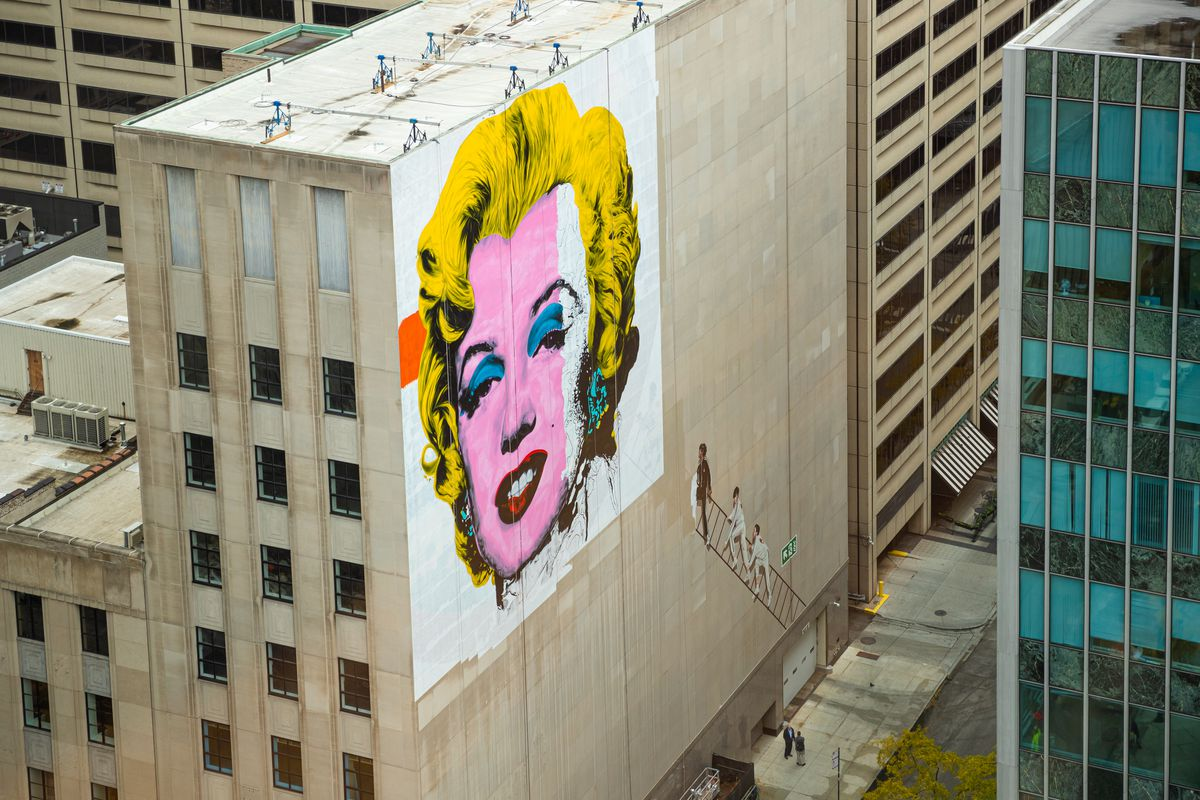 Jeff Zimmerman's Marilyn Monroe mural high above North Michigan Avenue is based on the Andy Warhol work of art.