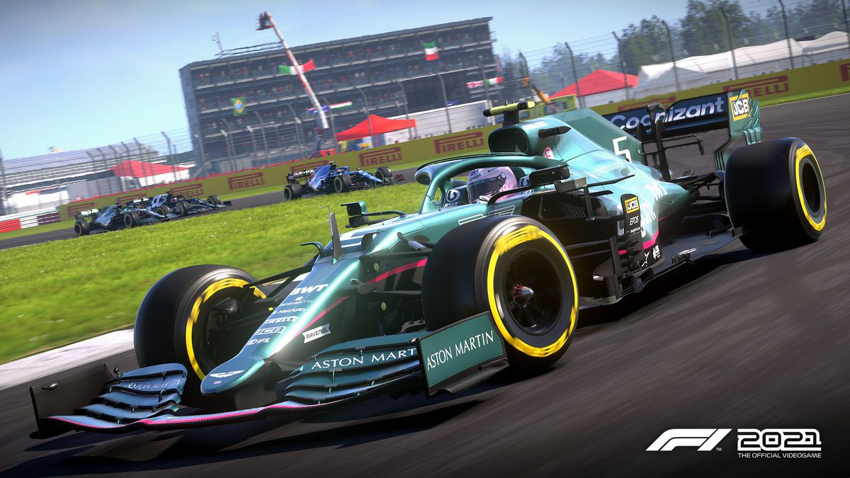 Sebastian Vettel for Aston Martin at the home team's Silverstone track