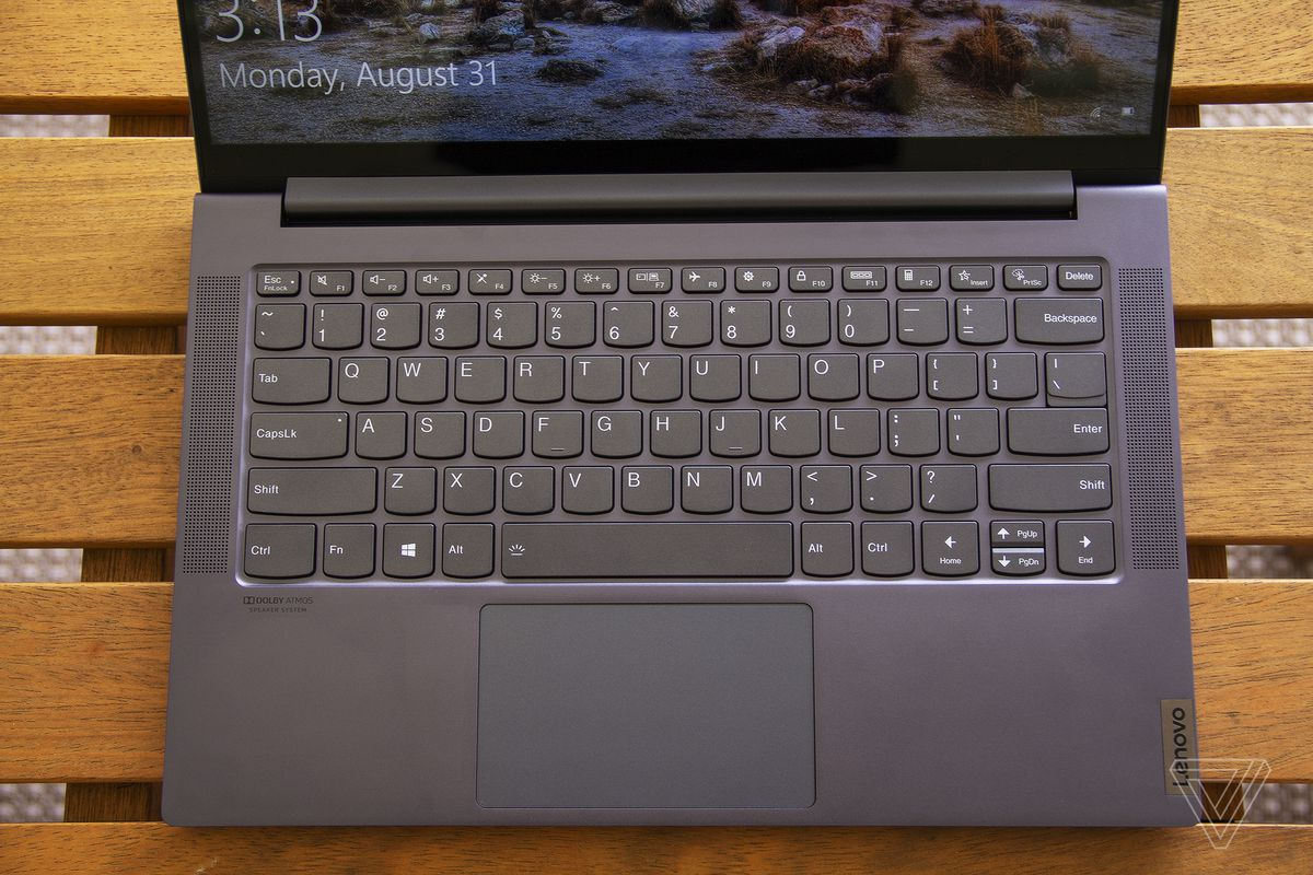 The Lenovo IdeaPad Slim 7's keyboard from above.