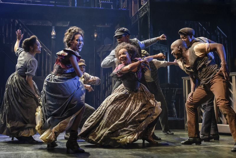 """The Berkeley Rep cast of """"Paradise Square"""" featured Hailee Kaleem Wright (front, left to right), Karen Burthwright and Sidney Dupont; and Chloé Davis (back, left to right) Sir Brock Warren, Jamal Christopher Douglas and Jacobi Hall."""