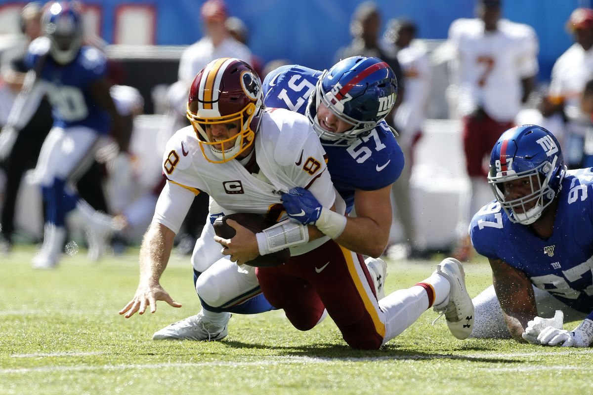 Ryan Connelly of the New York Giants in action against Washington QB Case Keenum at MetLife Stadium on September 29, 2019 in East Rutherford, New Jersey.