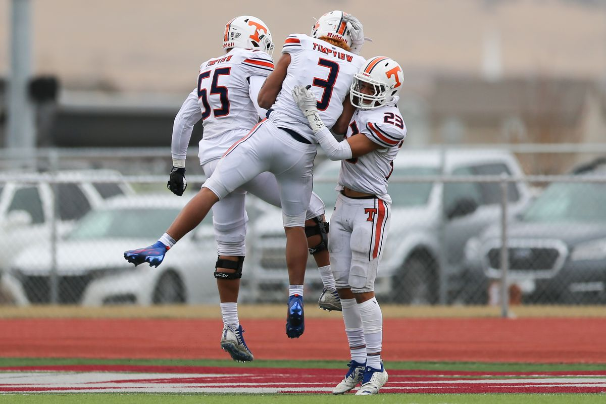 Timpview players celebrate after Timpview cornerback Raider Damuni (3) returns a fumble for a touchdown during a 5A football state semifinal game at Cedar Valley High School in Eagle Mountain on Friday, Nov. 13, 2020.