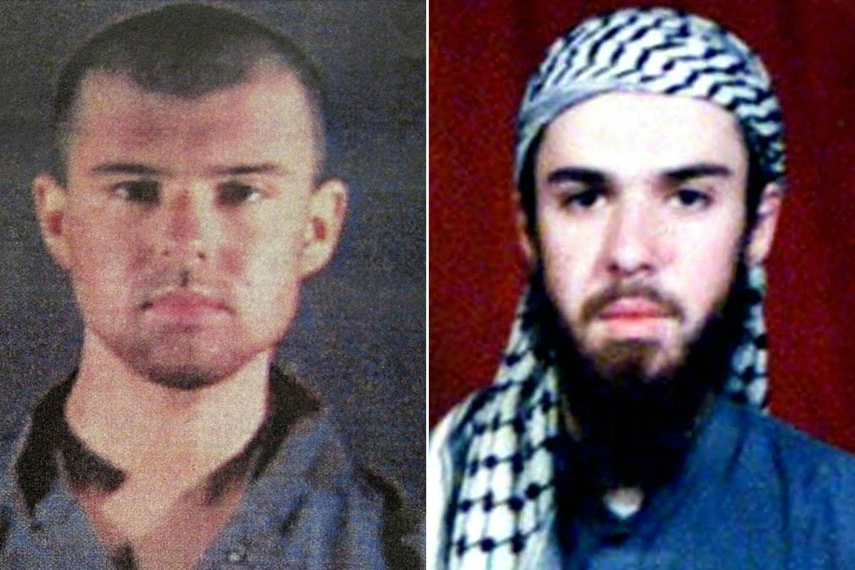 Left: A police file photo of John Walker Lindh made available on February 6, 2002. Right: A February 11, 2002, photograph of him as seen from the records of the madrassa (religious school) in Pakistan where Lindh studied.