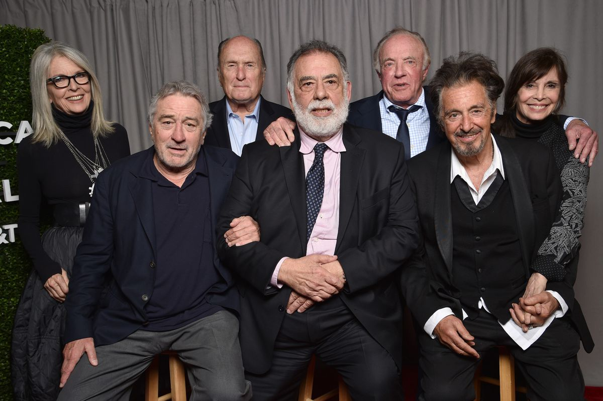 The cast of The Godfather smiles for the camera