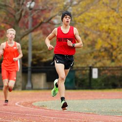 Von Steuben's Max Barrios runs in the meet at River Park. He finished in first place.