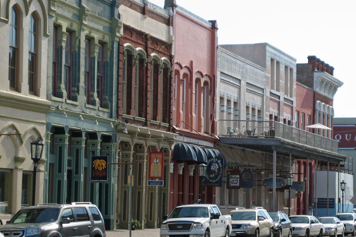 Businesses along the Strand in Galveston