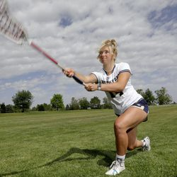 Ms. Lacrosse Jaimeson Meyer shoots the ball for a photo shoot at Waterford School in Sandy on Thursday, June 10, 2021.