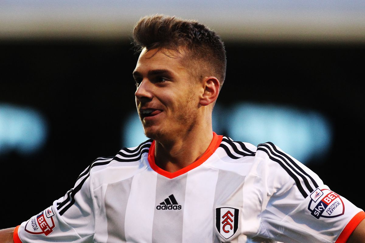 Alexander Kačaniklić celebrates his goal during the Whites' 2-1 victory against Reading,