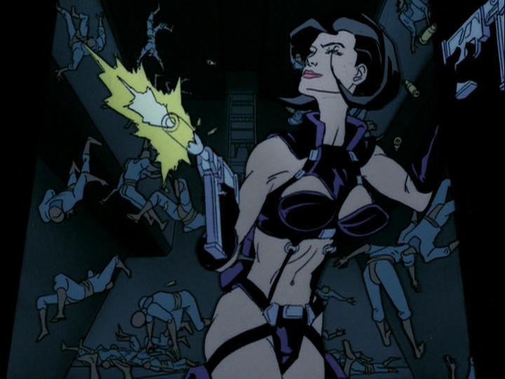 Aeon Flux races through a corridor as countless bullet-ridden bodies rain down in her wake.