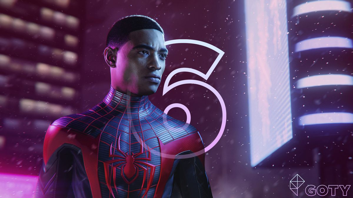 Miles Morales from the Spider Man video game with a number 6