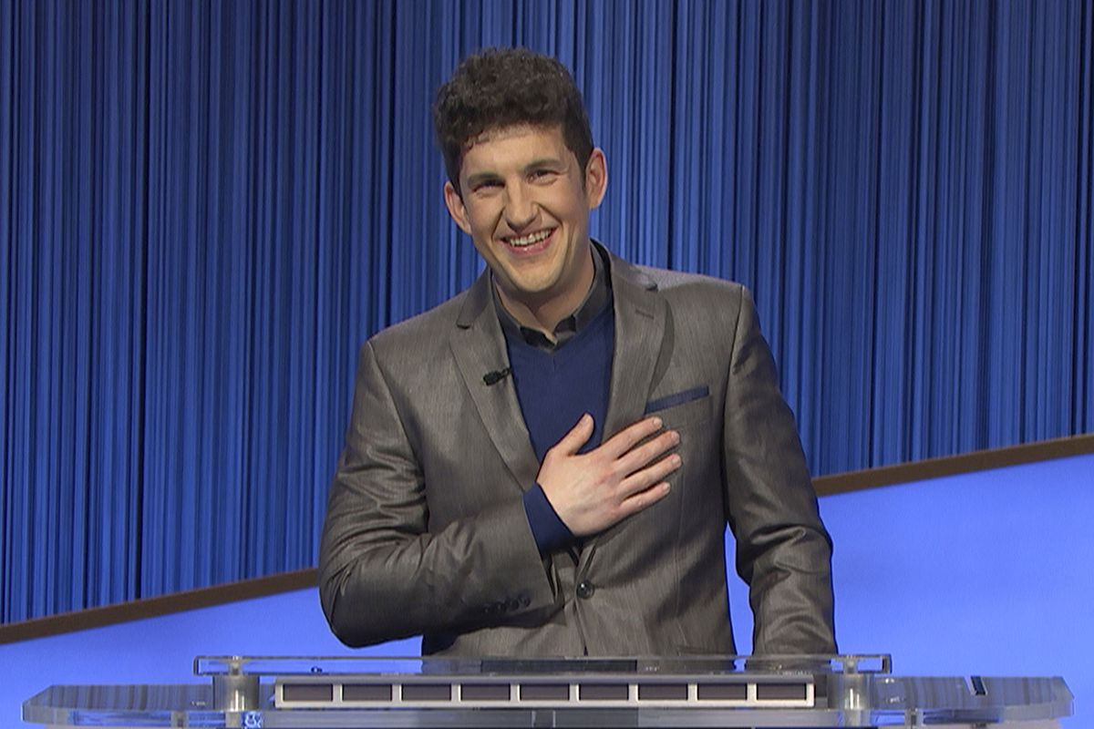"""This photo provided by Jeopardy Productions Inc. shows """"Jeopardy!"""" contestant Matt Amodio during a taping of the popular game show."""