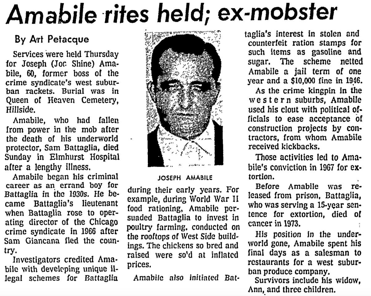 Chicago Sun-Times obituary for Joseph Amabile, published Sept. 17, 1976.