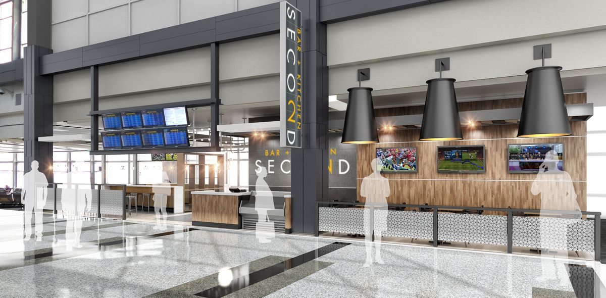 Rendering of Second Bar and Kitchen at the airport