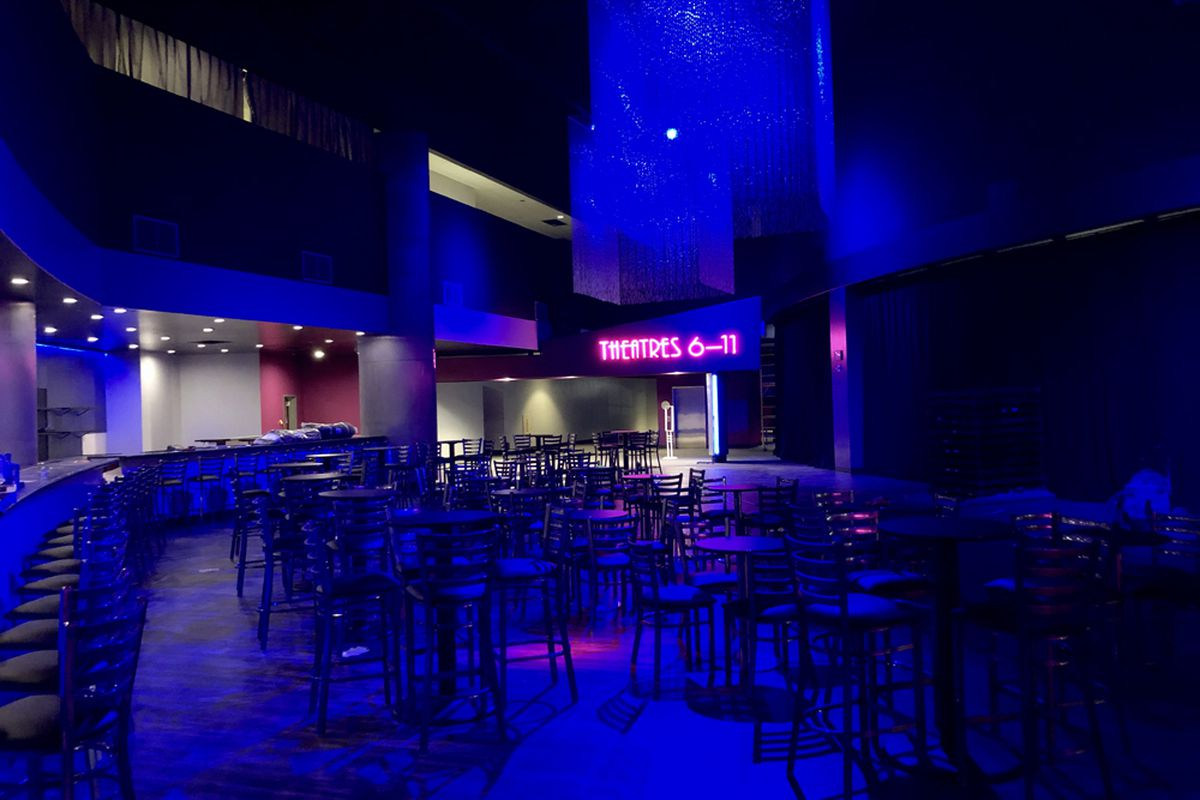 The blue-lit performance space, lounge and bar at Notoriety Live, opening at Neonopolis this fall.