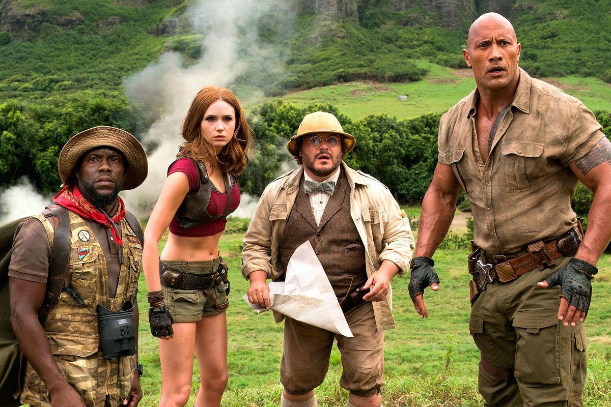 Kevin Hart, Karen Gillan, Jack Black, and Dwayne Johnson in Jumanji: Welcome to the Jungle