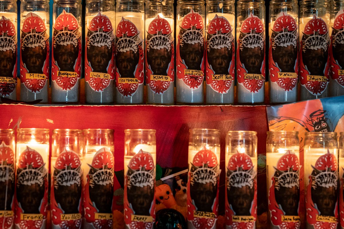Each day since opening on Oct. 23, Green-Wood cemetery has distributed veladoras, Spanish for candles, to visitors with a black space to put the name of people they'd like to honor at their Dia de Muertos altar.