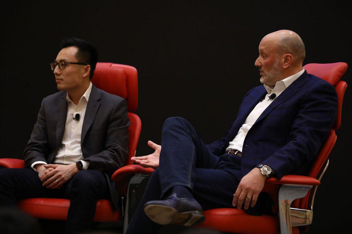 Doordash founder and CEO Tony Xu and Cheesecake Factory President David Gordon