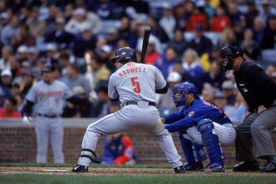Houston Astros first baseman Jeff Bagwell #5 prepares to swing the bat