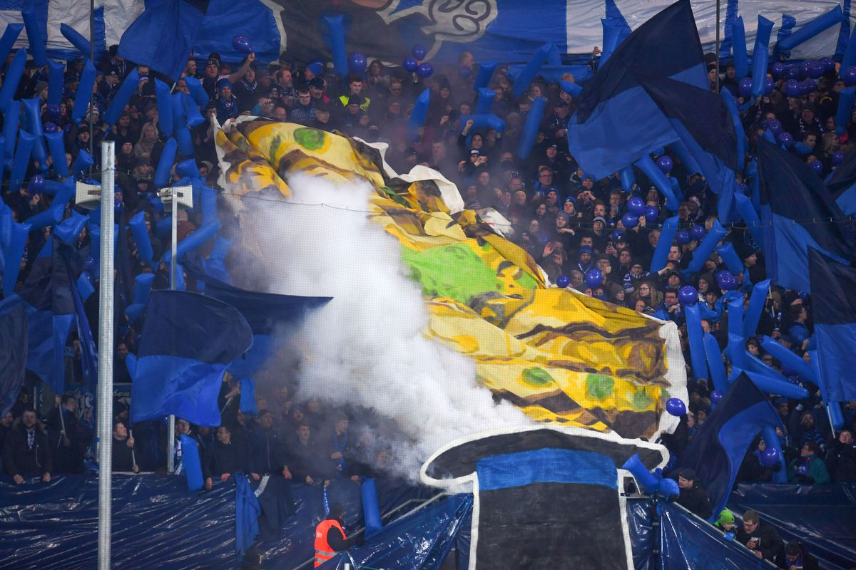 Paderborn's supporters deploy a giant banner to cheer up their team before the German football Cup DFB Pokal quarter-final match SC Paderborn versus Bayern Munich on February 6, 2018 in Paderborn.