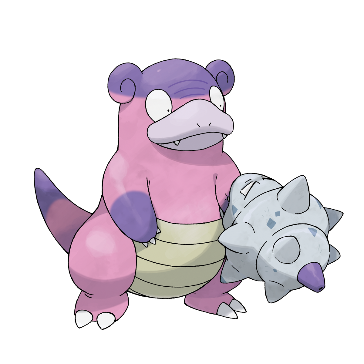 A pink dinosaur-like creature with a shell wrapped around its arm