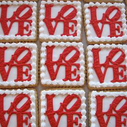 """You won't regret taking home a box of these vanilla <a href=""""http://www.etsy.com/listing/106470207/medium-love-cookie-gift-box-vanilla-half?"""">Love Cookies</a>, $36/half-dozen at Whipped Bakeshop."""