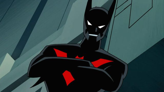 Terry McGinnis, as Batman, grinning at the camera in a still from the Batman Beyond animated series.