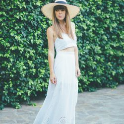 """Jenny of <a href=""""http://margoandme.com""""target=""""_blank""""> Margo and Me</a> is wearing a Candela NYC skirt and top and a Gladys Tamez hat."""