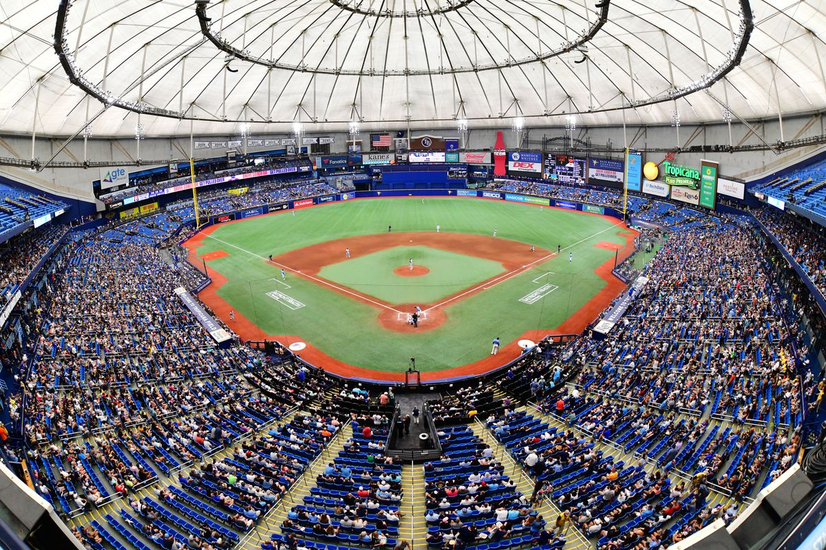 A general view of Tropicana Field during a game between the Tampa Bay Rays and the Chicago White Sox on August 22, 2021 in St Petersburg, Florida.