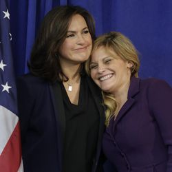 FILE - Rape victim and founder of Natasha's Justice Project, Natasha Alexenko, right, is hugged by actor Mariska Hargitay, who stars in Law & Order: Special Victims Unit, during a news conference in New York on Wednesday, Nov. 12, 2014 where Manhattan District Attorney Cyrus R. Vance Jr. announced that he pledged as much as $35 million to help eliminate a backlog of untested rape kits nationwide that has long troubled authorities, victims and lawmakers. (AP Photo/Julie Jacobson)