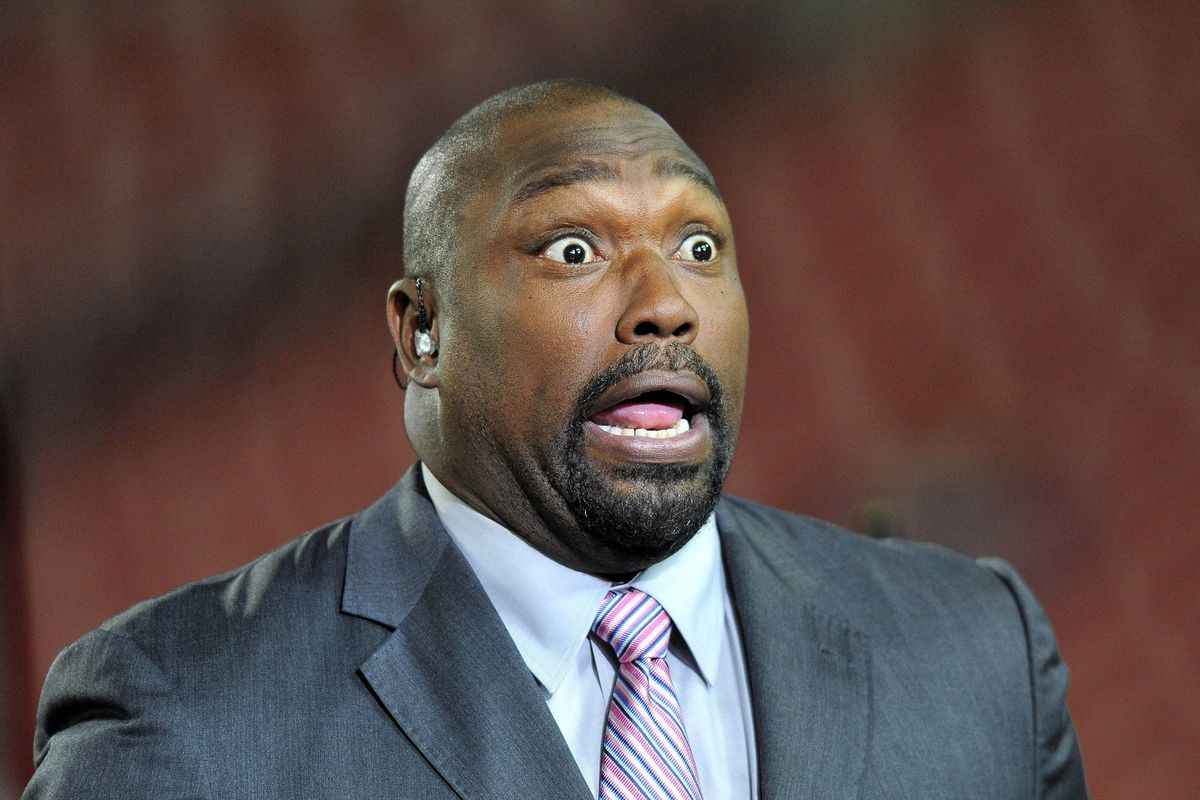 """Warren Sapp making his usual """"John Candy from Planes Trains and Automobiles"""" face."""