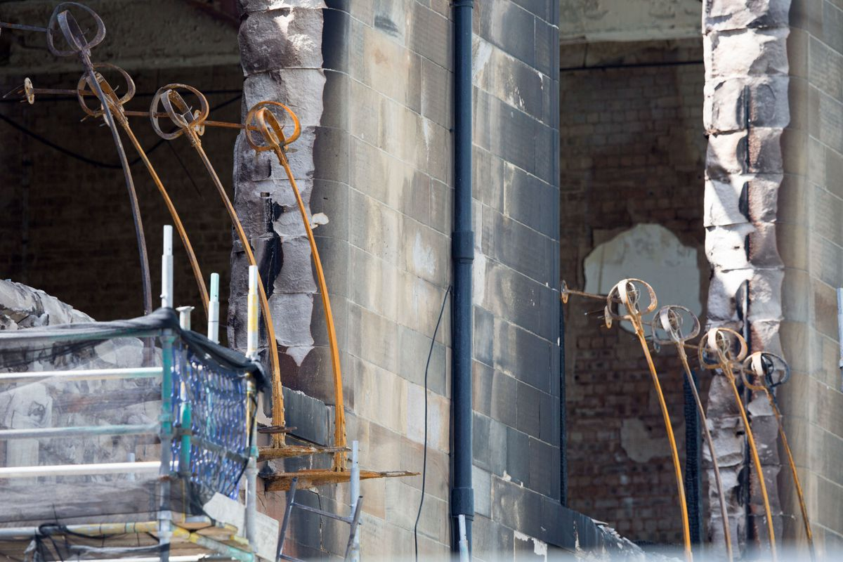 A view of some of the damage to the Mackintosh Building at Glasgow School of Art on June 22, 2018 in Glasgow, Scotland.