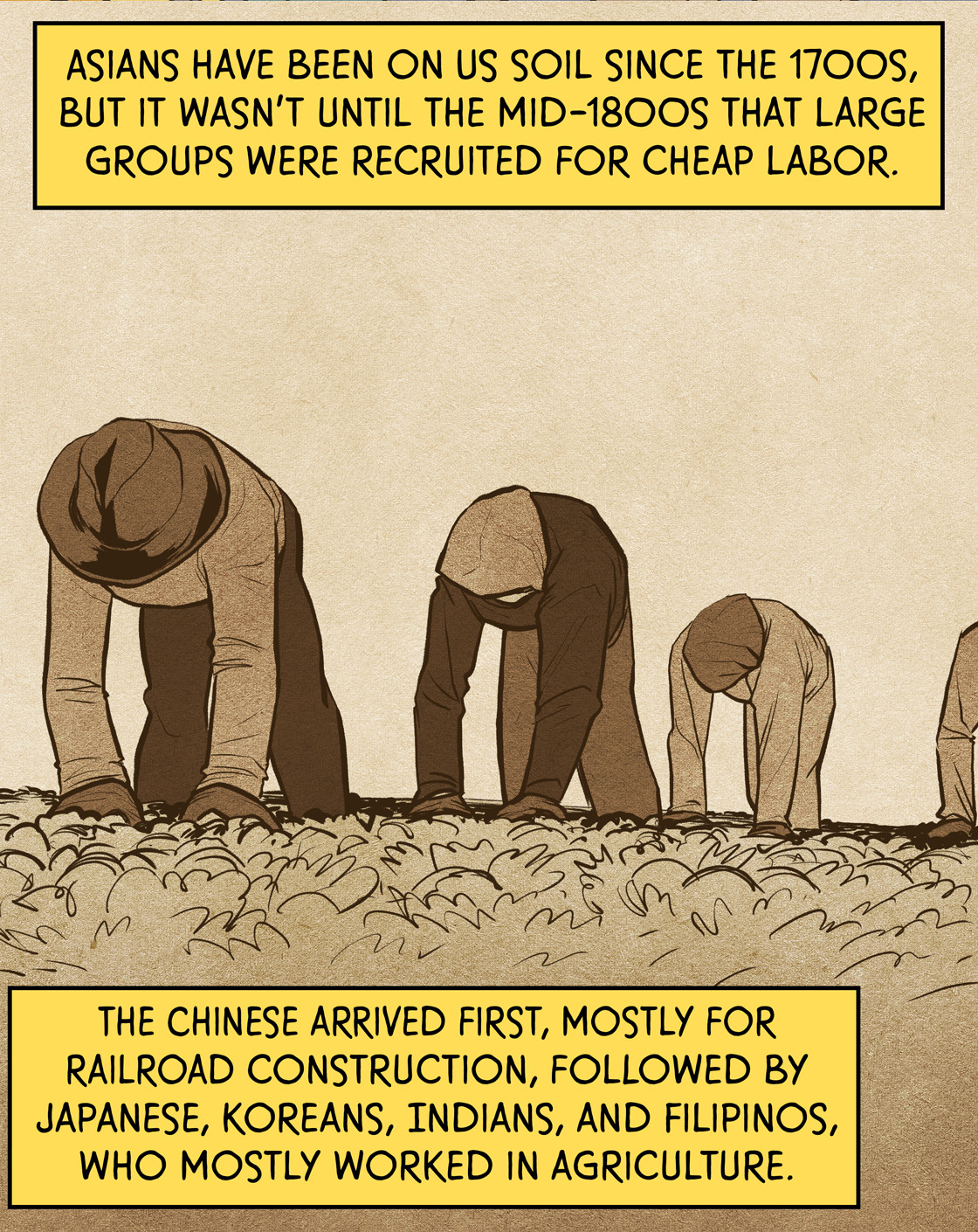 Asians have been on US soil since the 1700s, but it wasn't until the mid-1800s that large groups were recruited for cheap labor. The Chinese arrived first, mostly for railroad construction, followed by Japanese, Koreans, Asian Indians, and Filipinos, who mostly worked in agriculture.