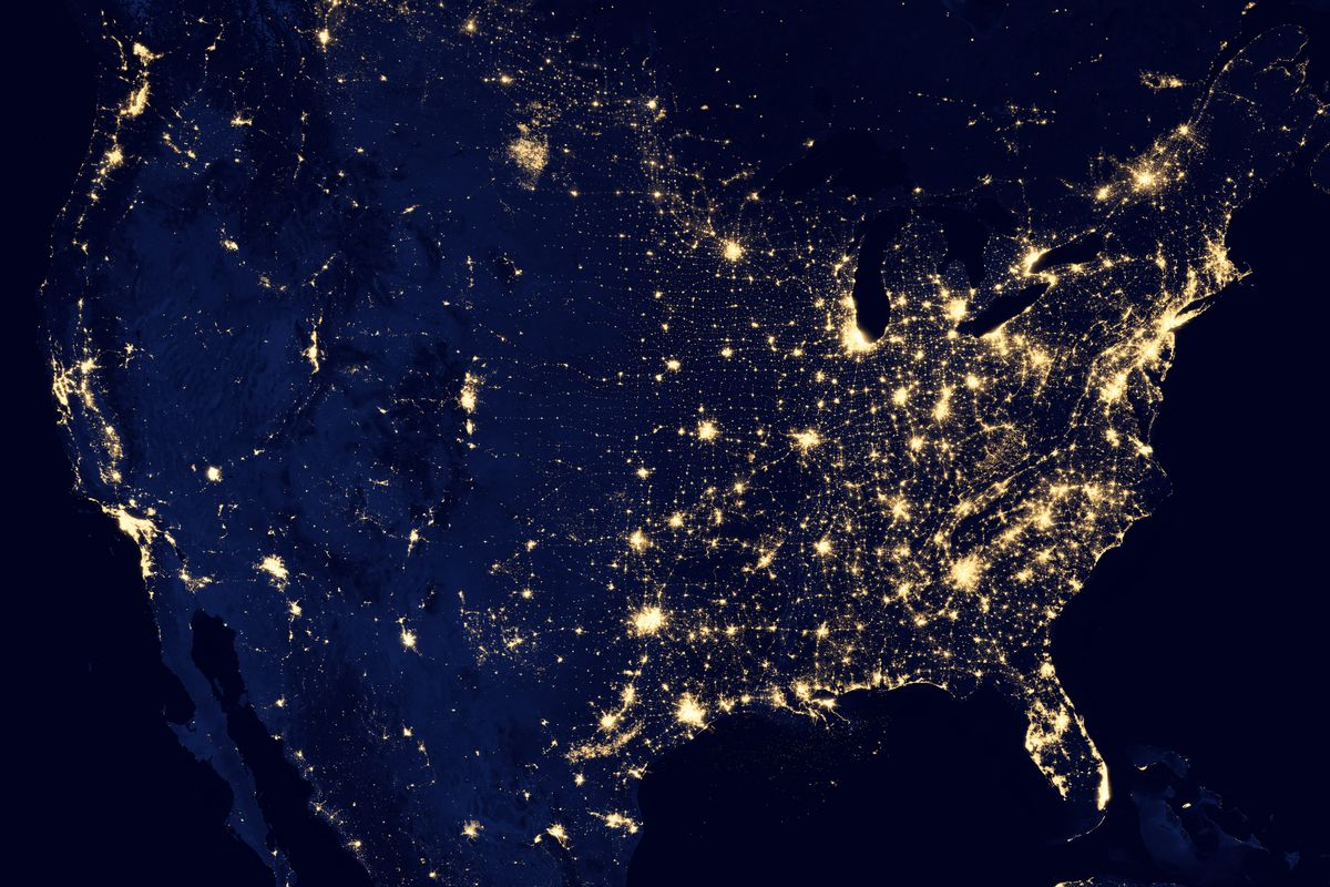 US at night, from space