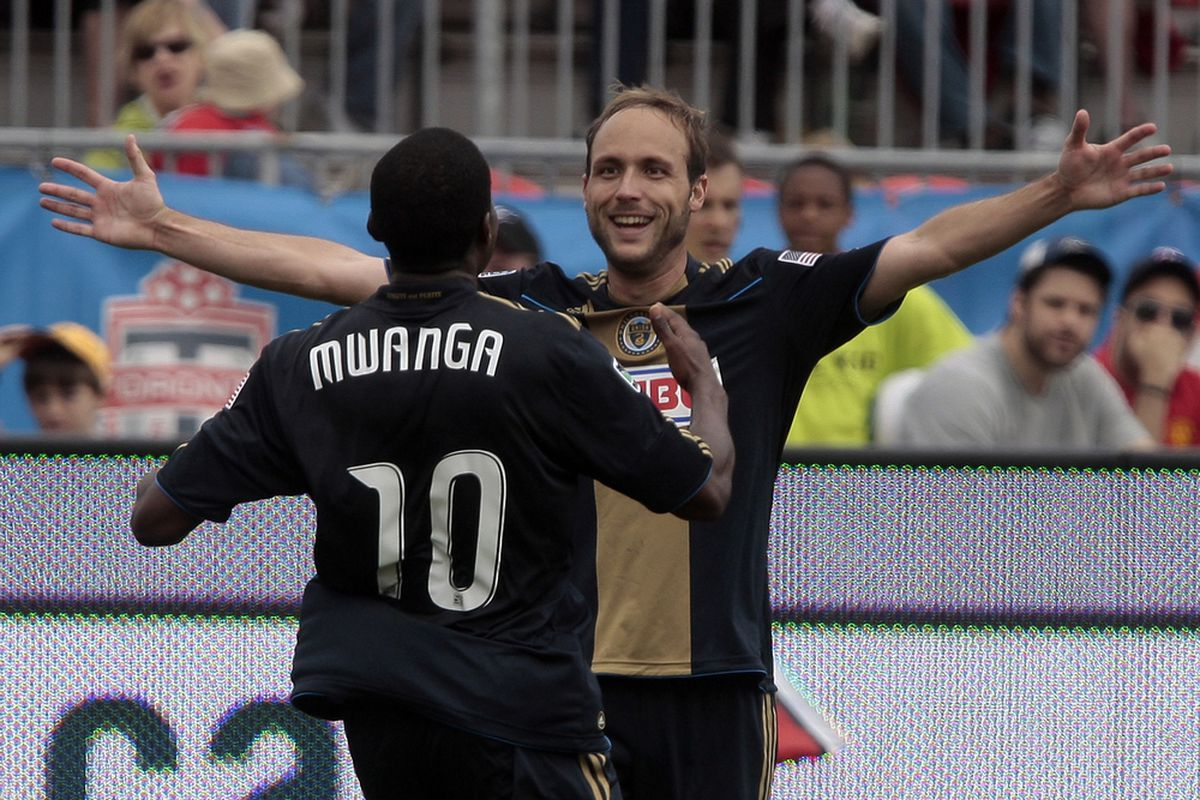 TORONTO, CANADA - MAY 28: Justin Mapp #22 and Danny Mwanga #10 of Philadelphia Union celebrate Danny Mwanga goal during MLS action at BMO Field May 28, 2011 in Toronto, Ontario, Canada. (Photo by Abelimages/Getty Images)